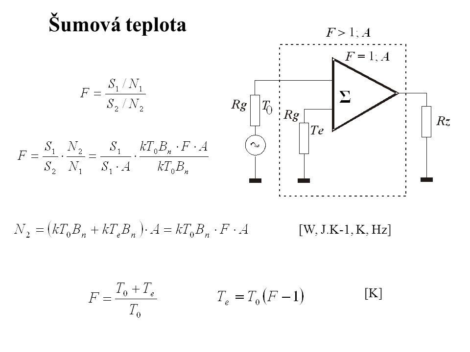 Šumová teplota [W, J.K-1, K, Hz] [K]